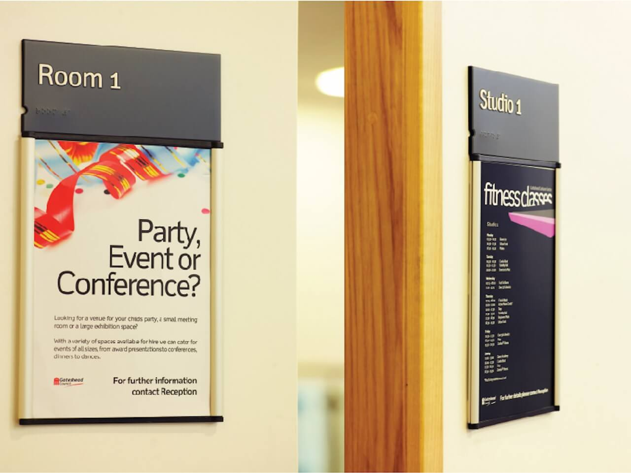Paper inserts provide flexible and easily updatable signage and information graphics for leisure centres