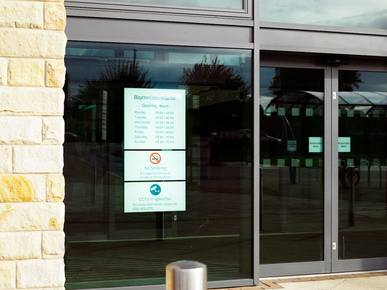 The door signage and external graphics at leisure centres need to be clear, robust and easy-to-update