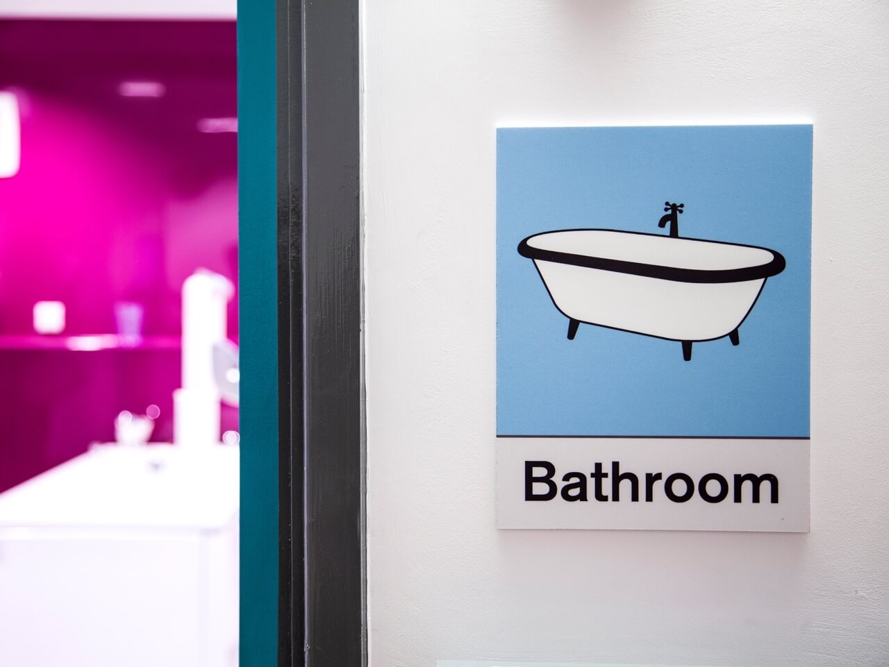 Dementia friendly signage for bathrooms at Haven Court