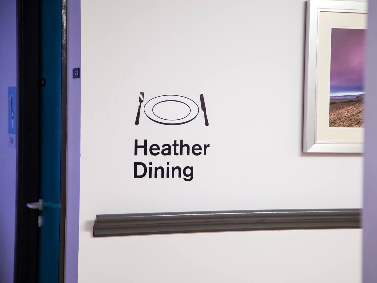 Dementia friendly signage for dining rooms at Haven Court