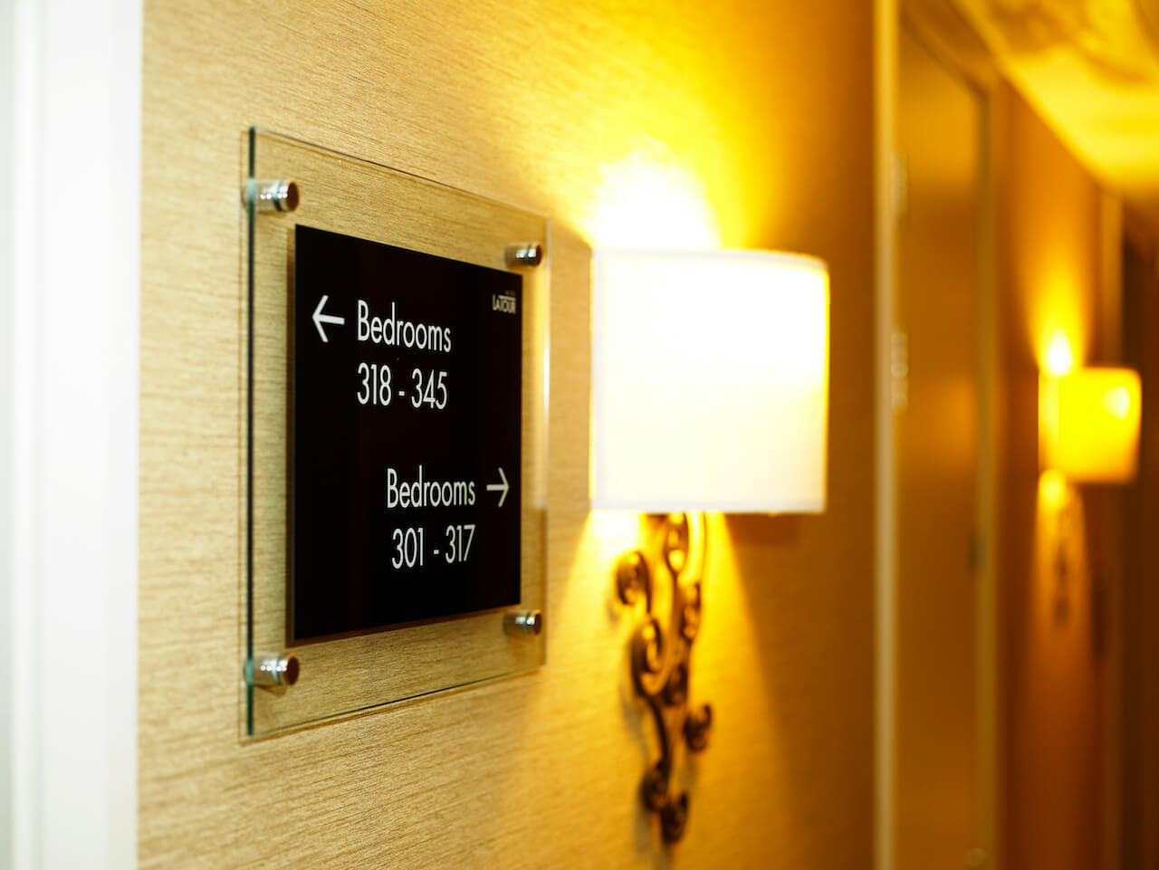 Signage for hotel bedrooms