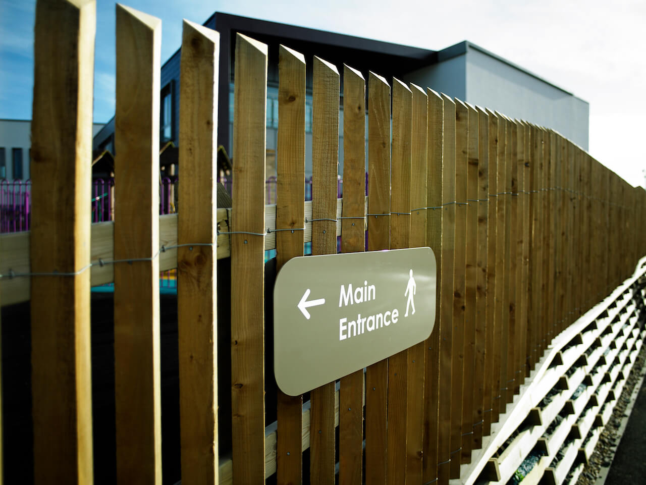 Directional signage at Knop Law Primary School