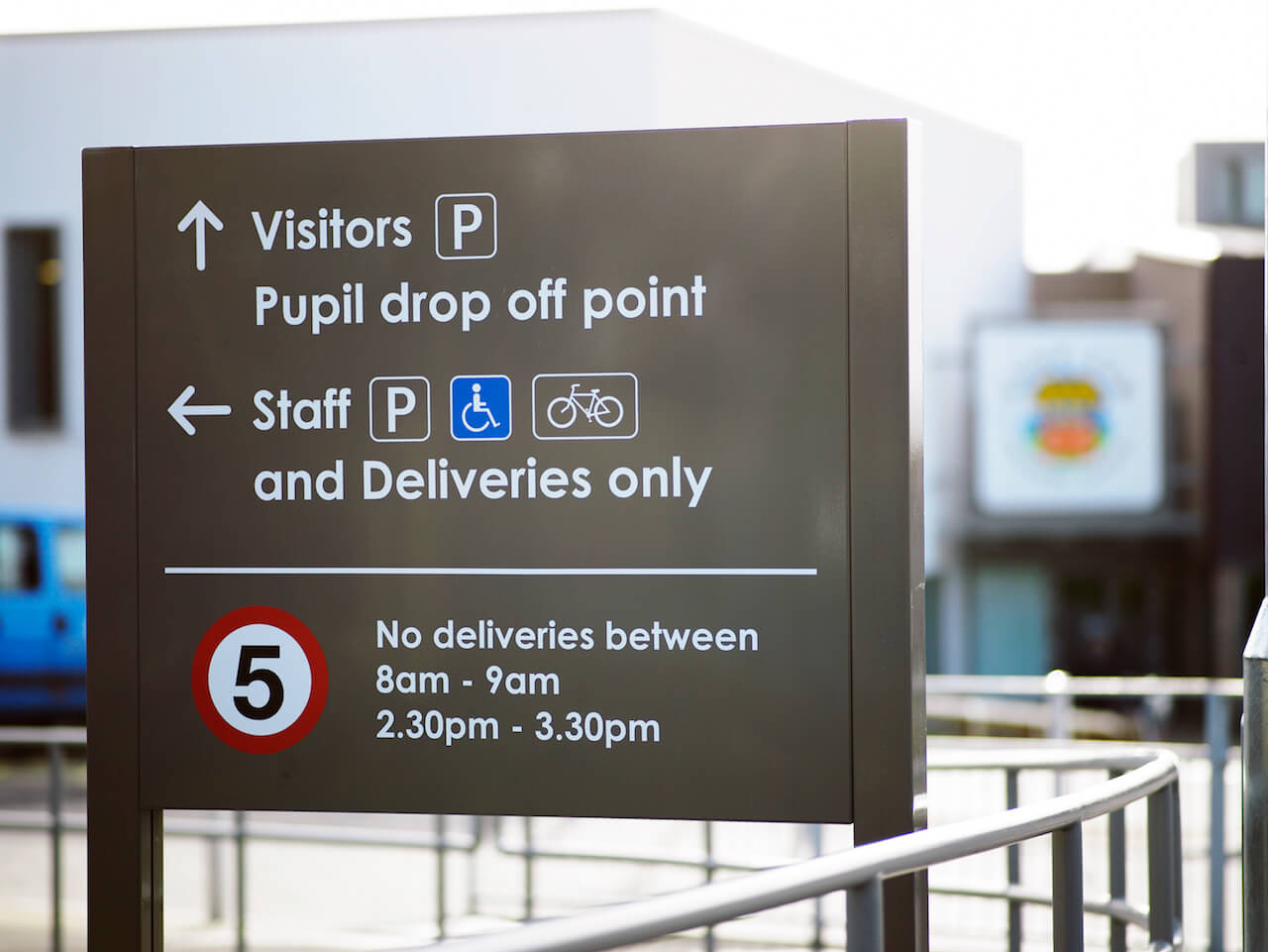 Directional signage and wayfinding at Knop Law Primary School