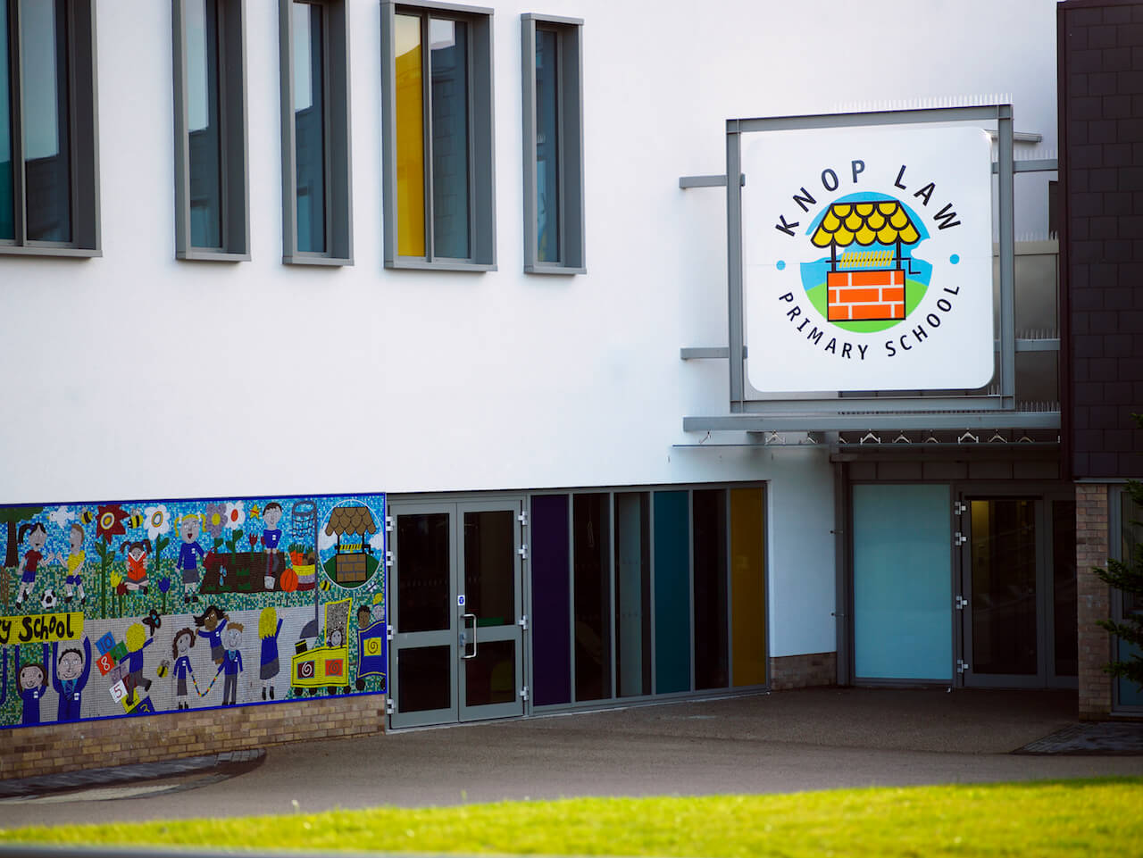 External school signage and wayfinding at Knop Law Primary School