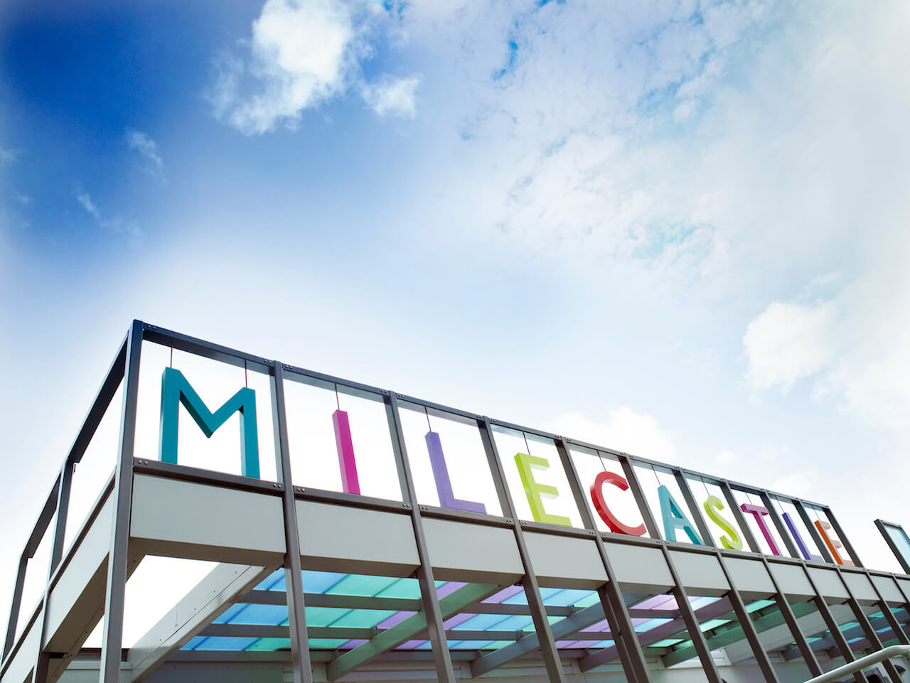 Design-led wayfinding at Milecastle Primary School with bold coloured lettering
