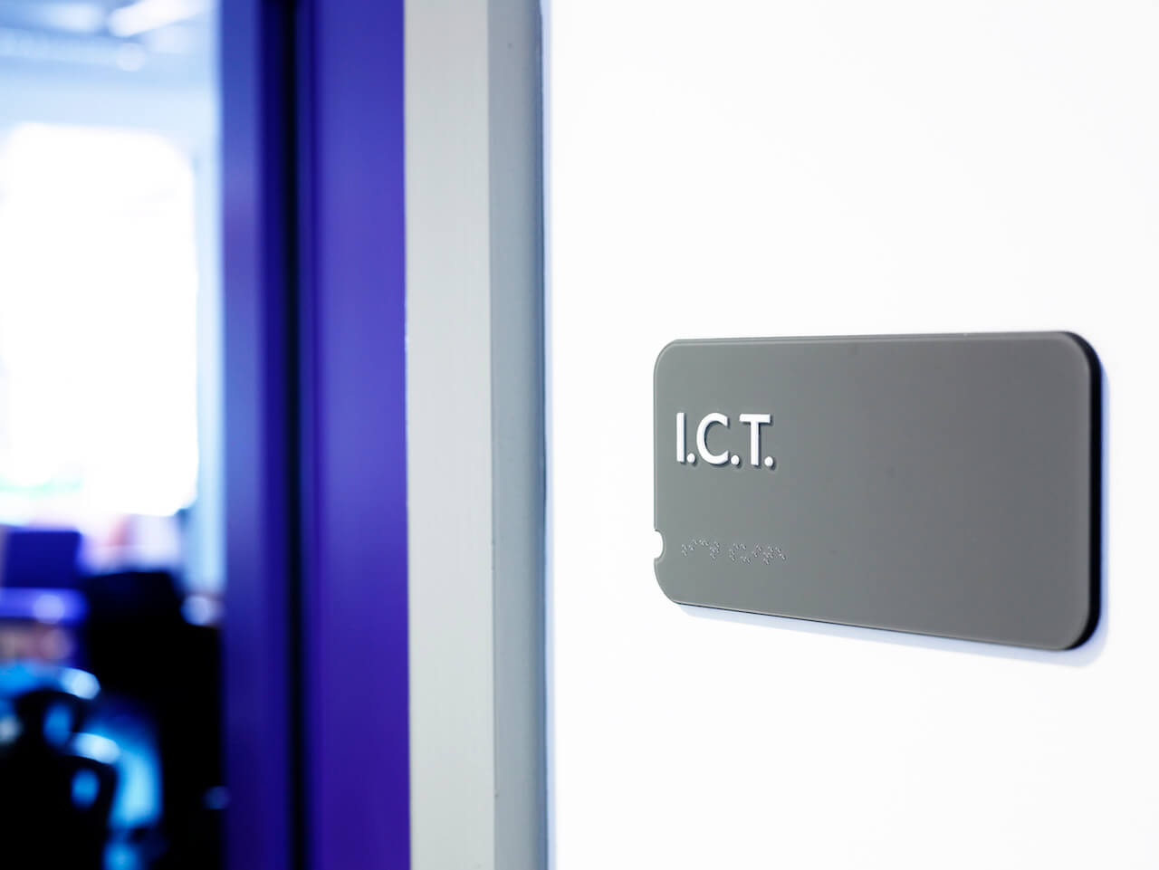 Door sign for school ICT suite with Braille detail