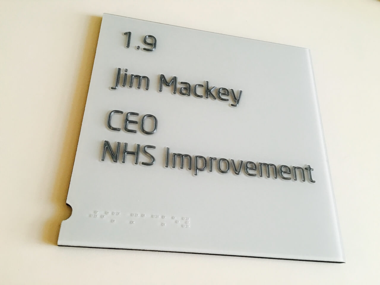 Wall-mounted door signage as part of an office wayfinding scheme