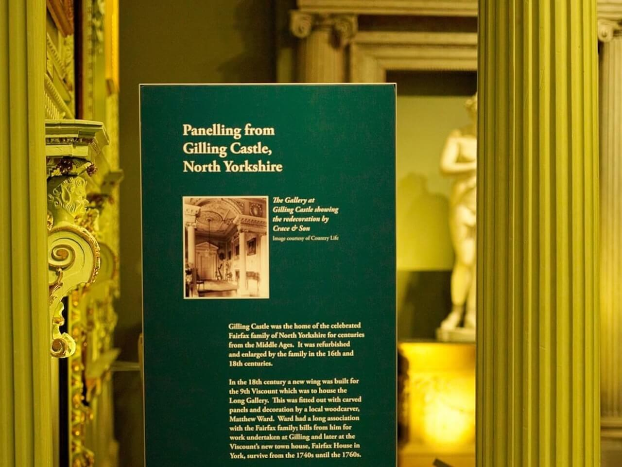 A description sign highlighting an explanation of an exhibit