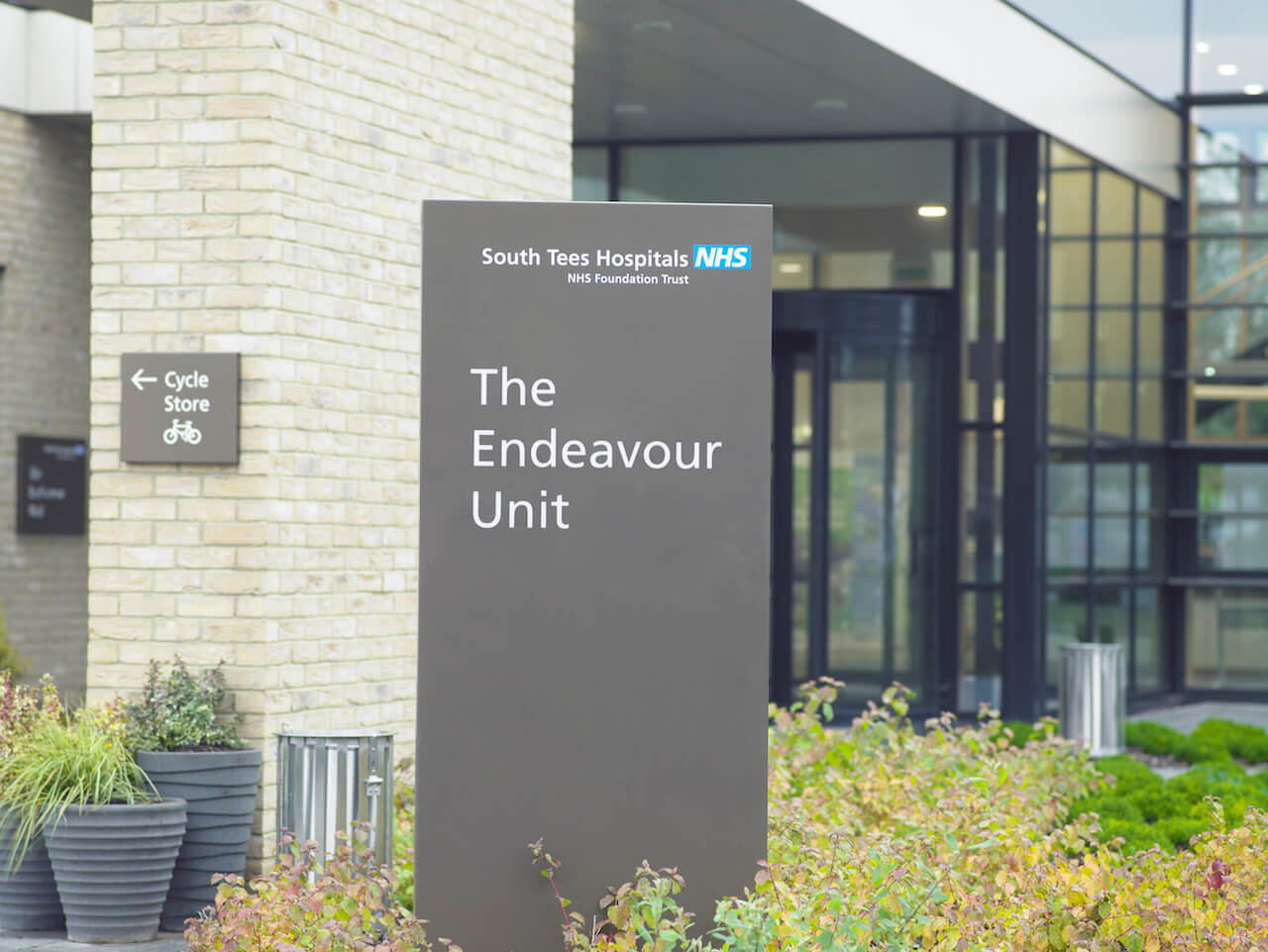 External entrance welcome sign to The Endeavour Unit