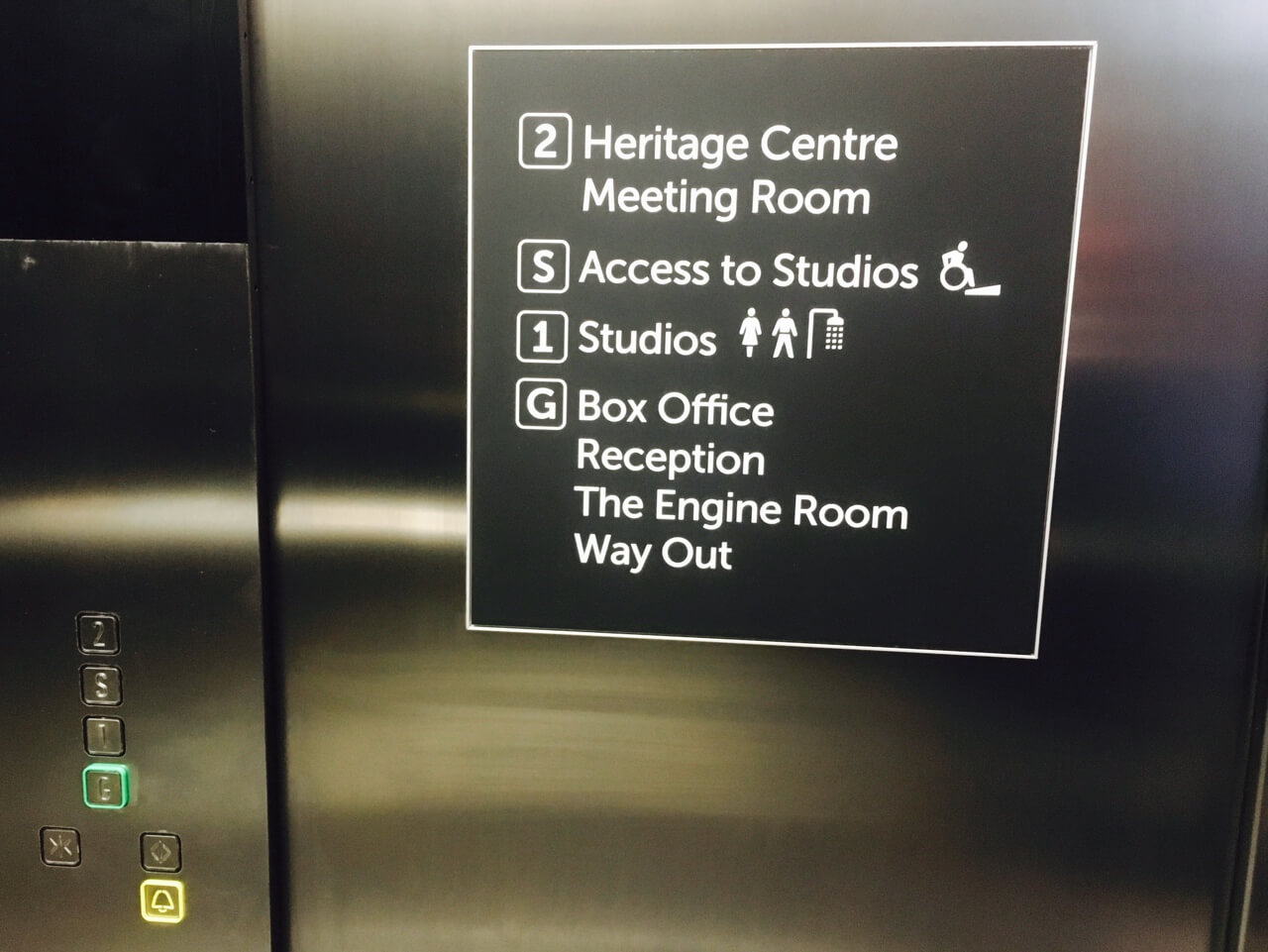A lift sign highlighting the relevant floors