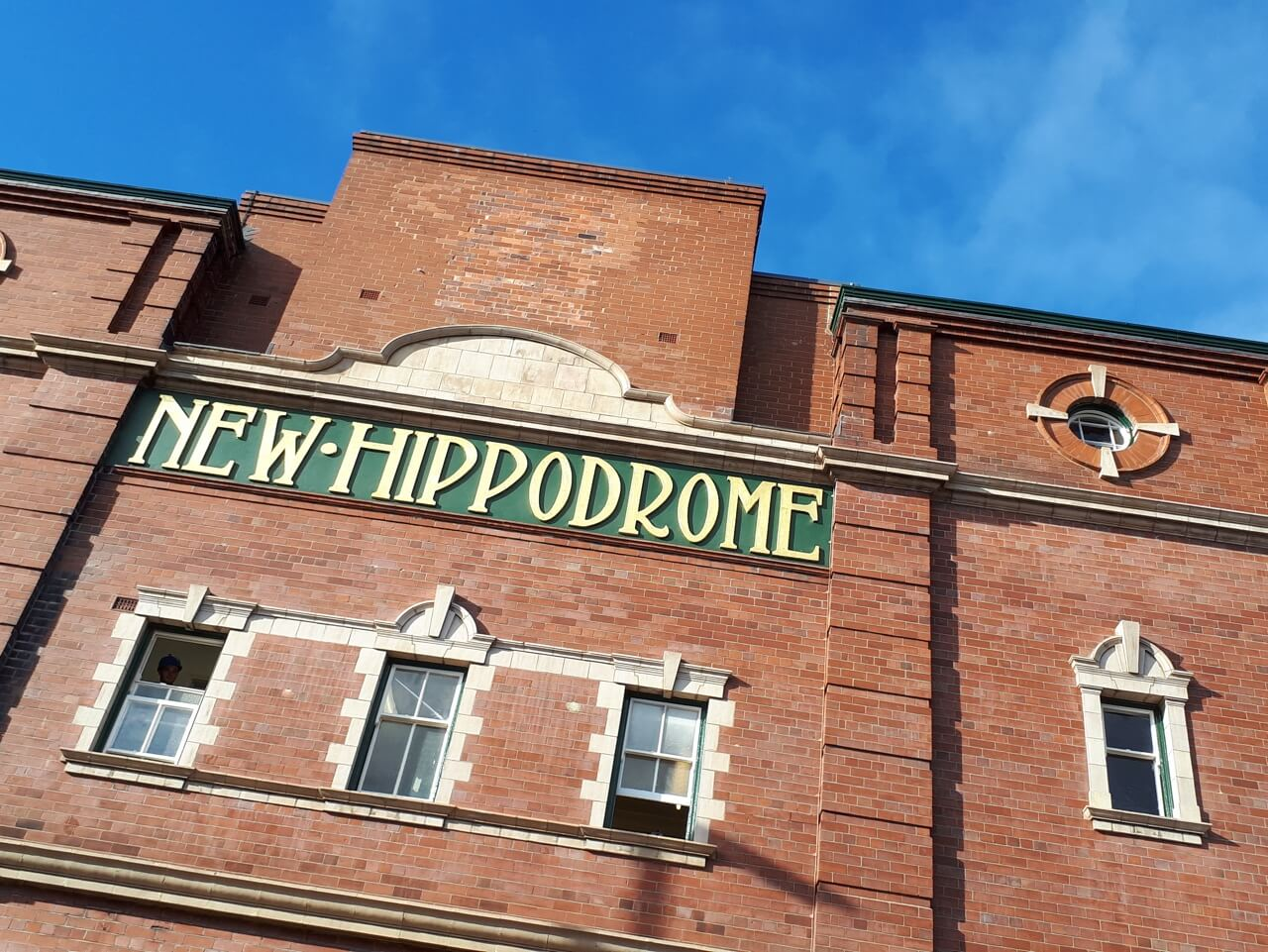 The original gilded external signage at Darlington Hippodrome