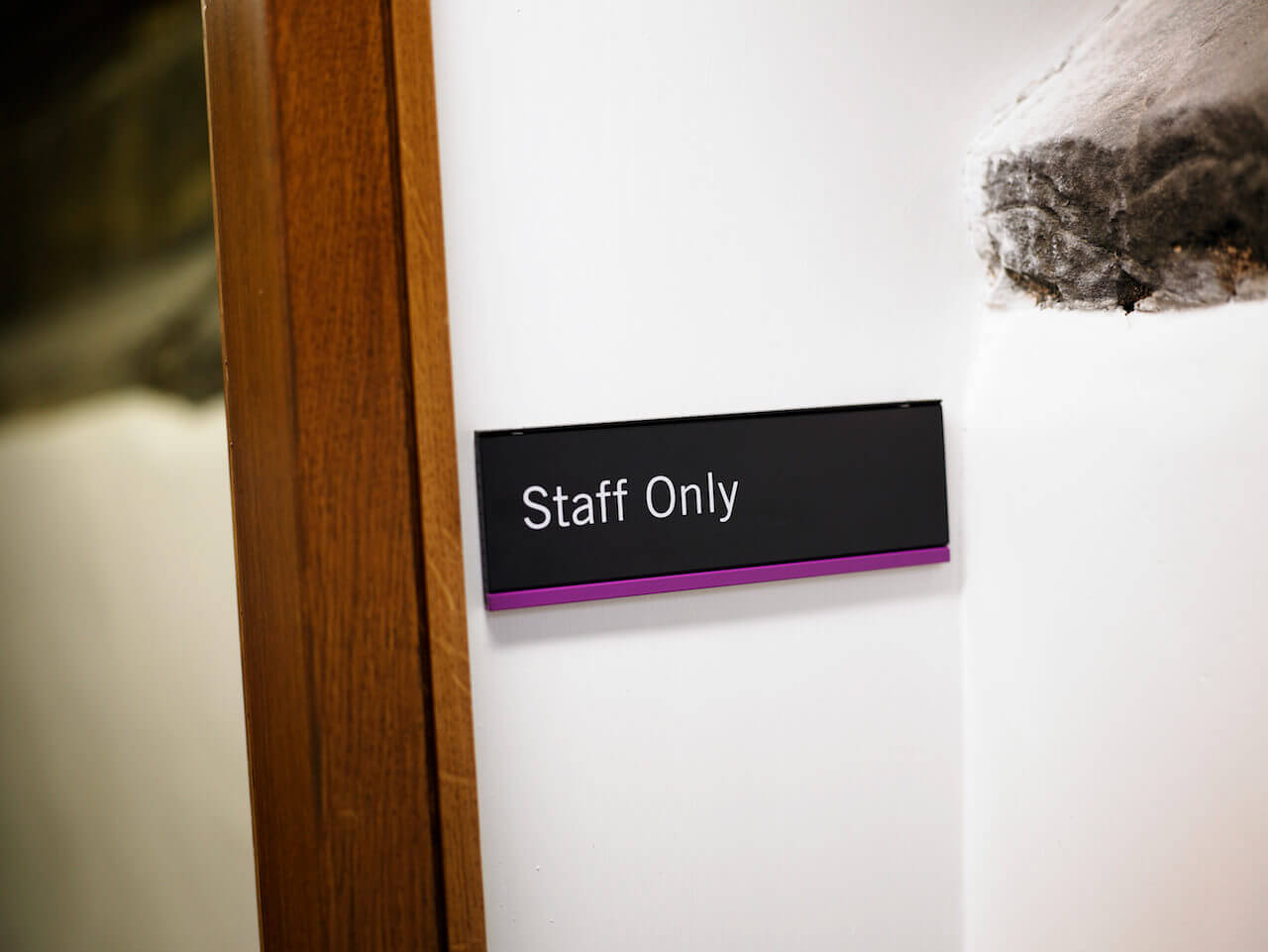 Staff Only door sign at Palace Green Library