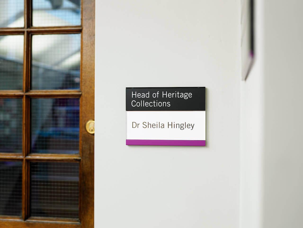 Door signage at Palace Green Library