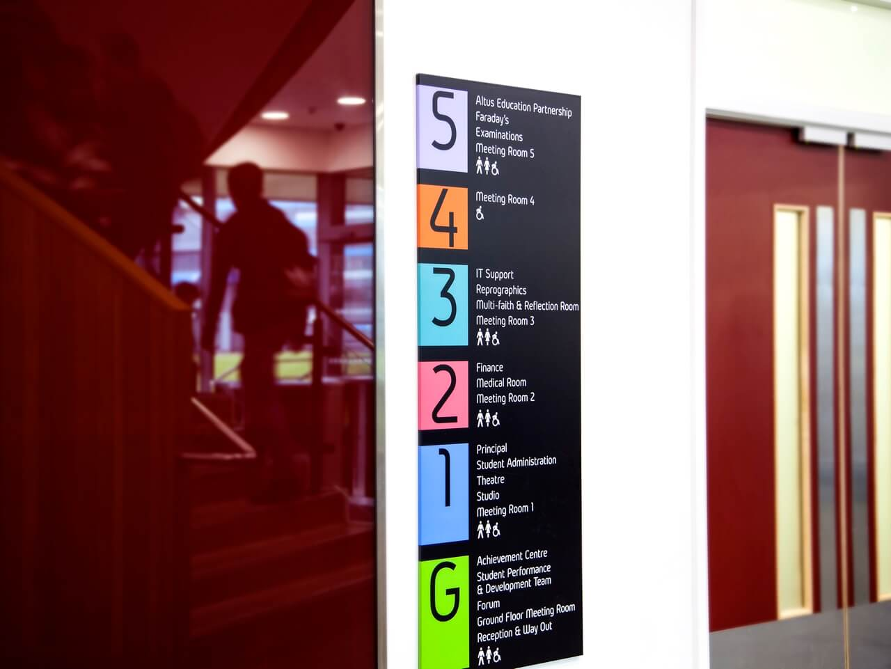 Colourful building directory as part of a college wayfinding scheme