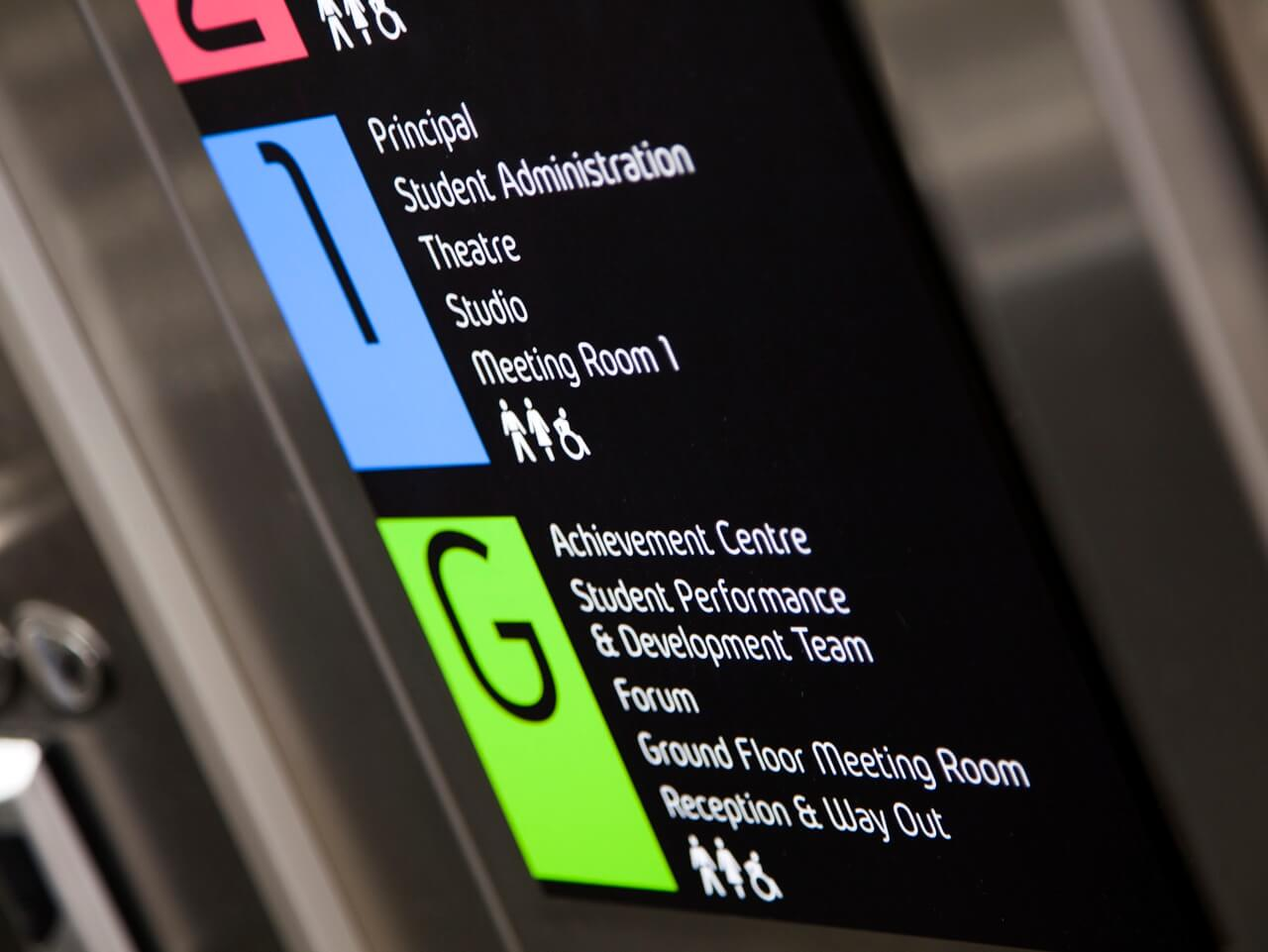 Lift signage and wayfinding with pictograms
