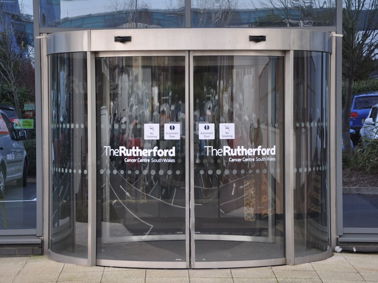 External door signage on automatic doors