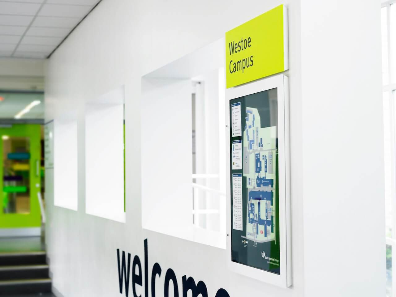 Wall mounted campus map as part of the wayfinding and signage strategy at South Tyneside College