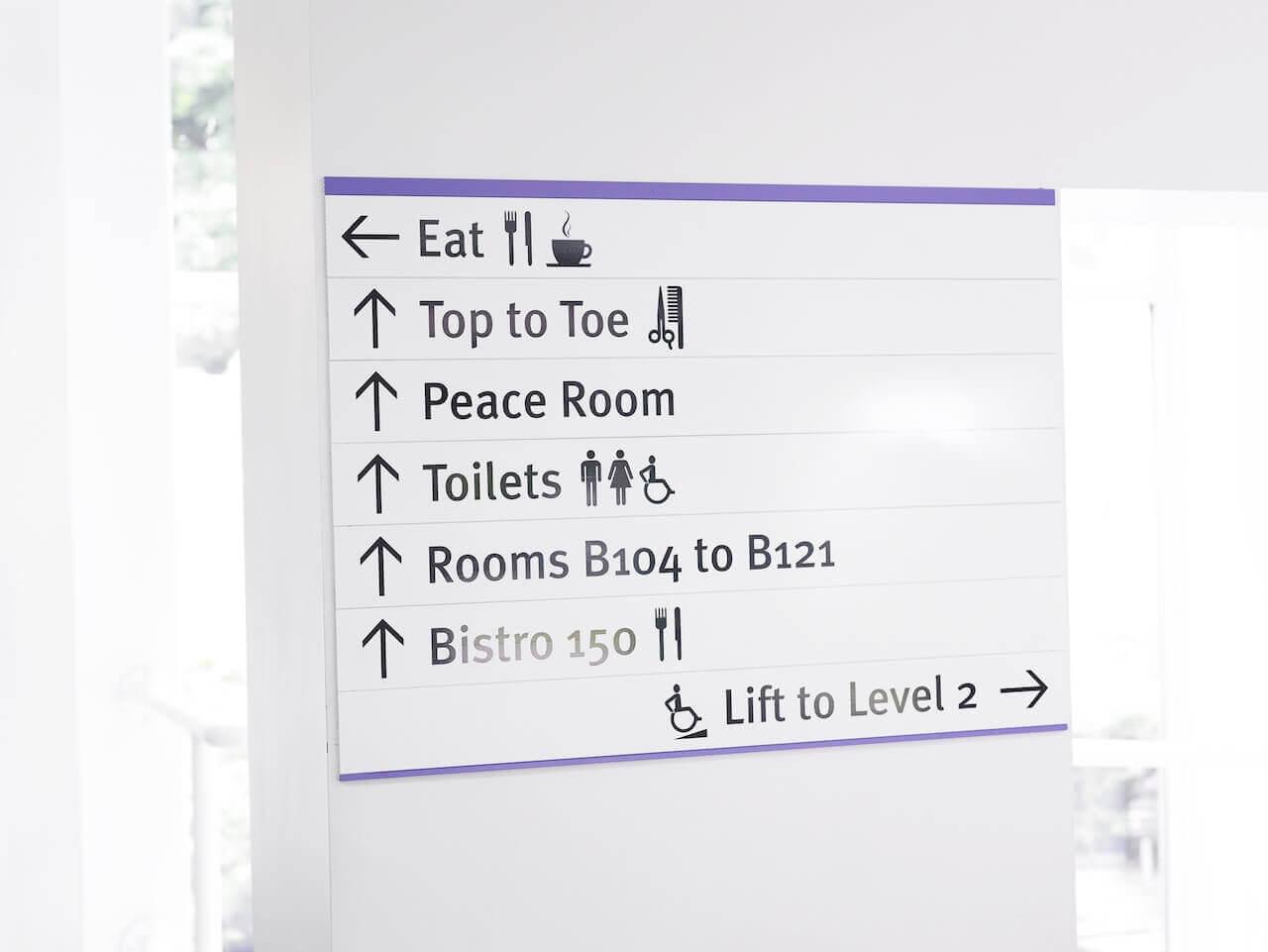 Directional wayfinding signage