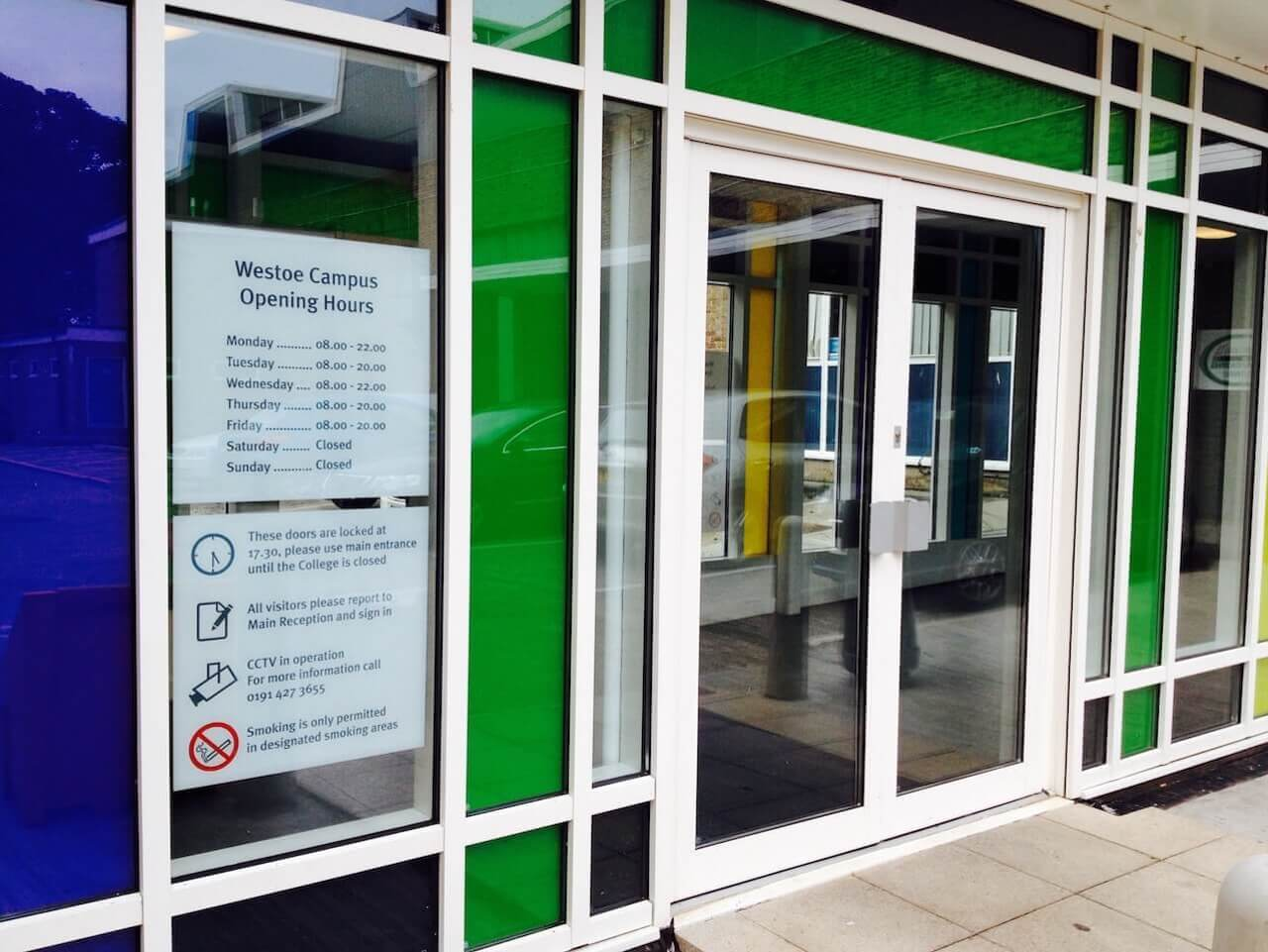 Signage on glass panels at South Tyneside College