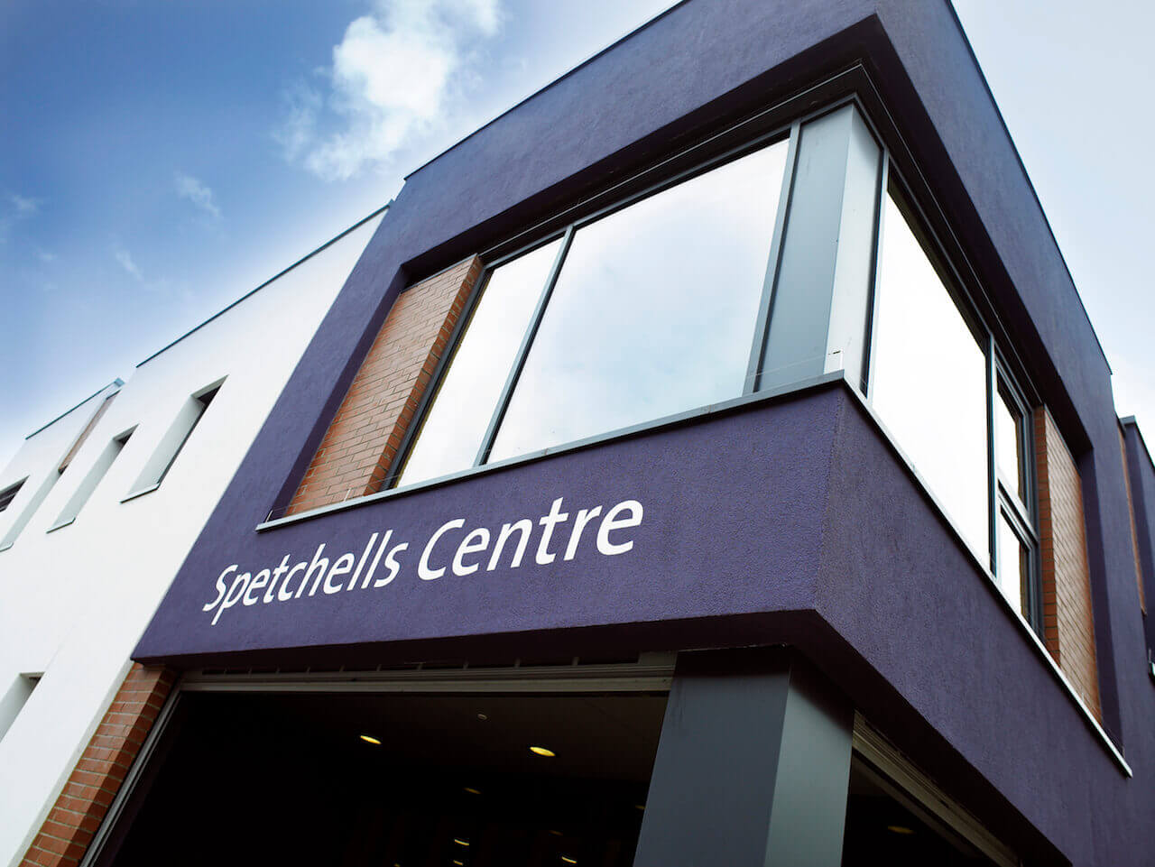 External signwriting at The Spetchells Centre in Prudhoe exemplifies design-led wayfinding