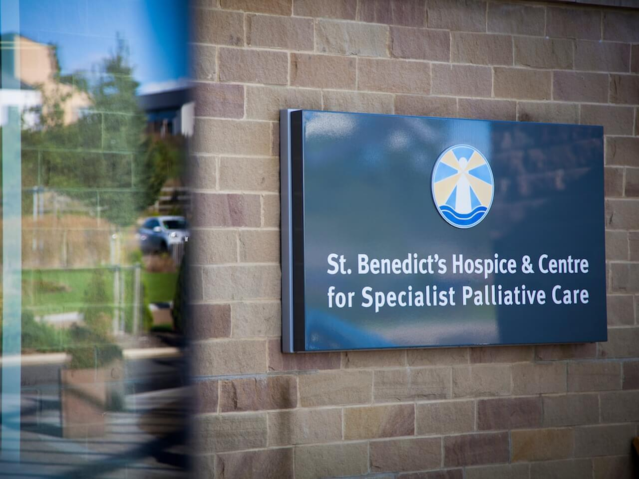 External signage at St Benedict's Hospice