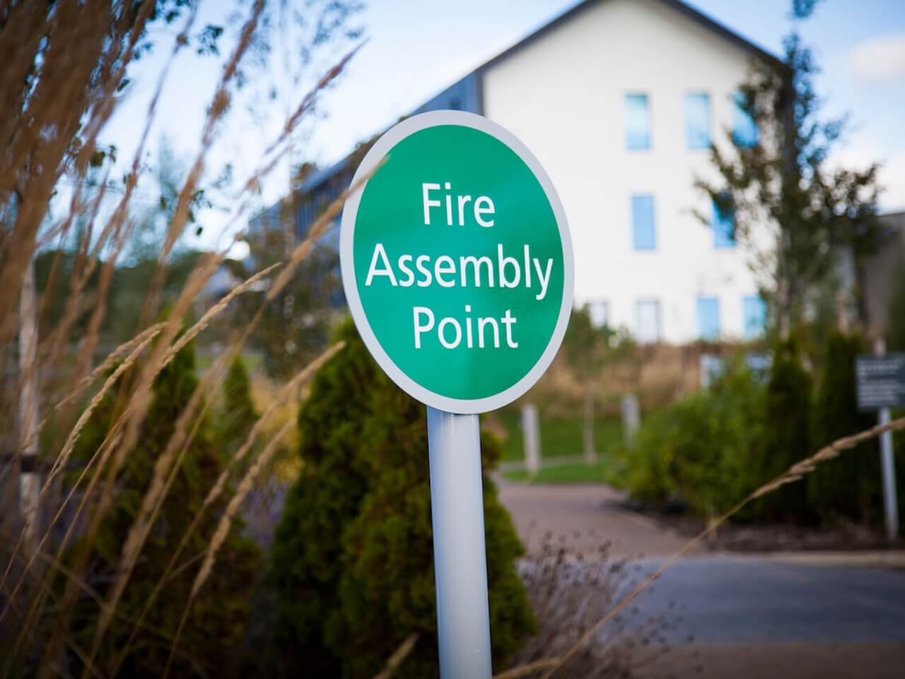 External fire assembly point signage