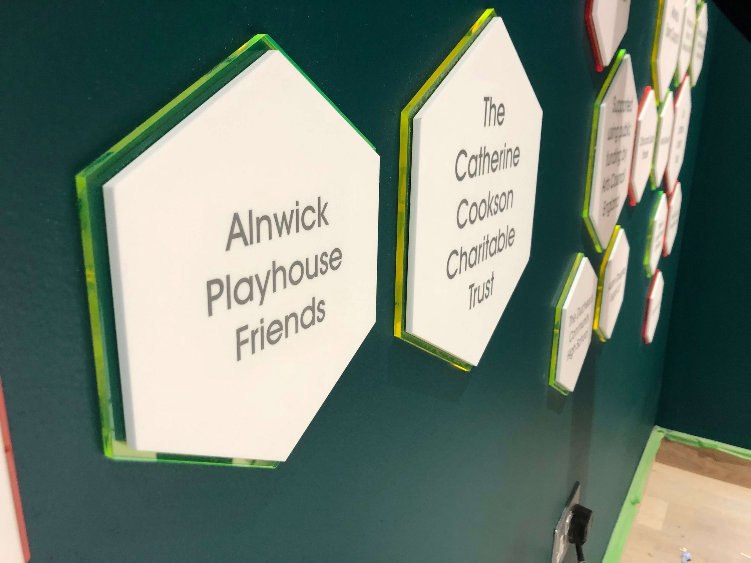 Details of panel signage at Alnwick Playhouse