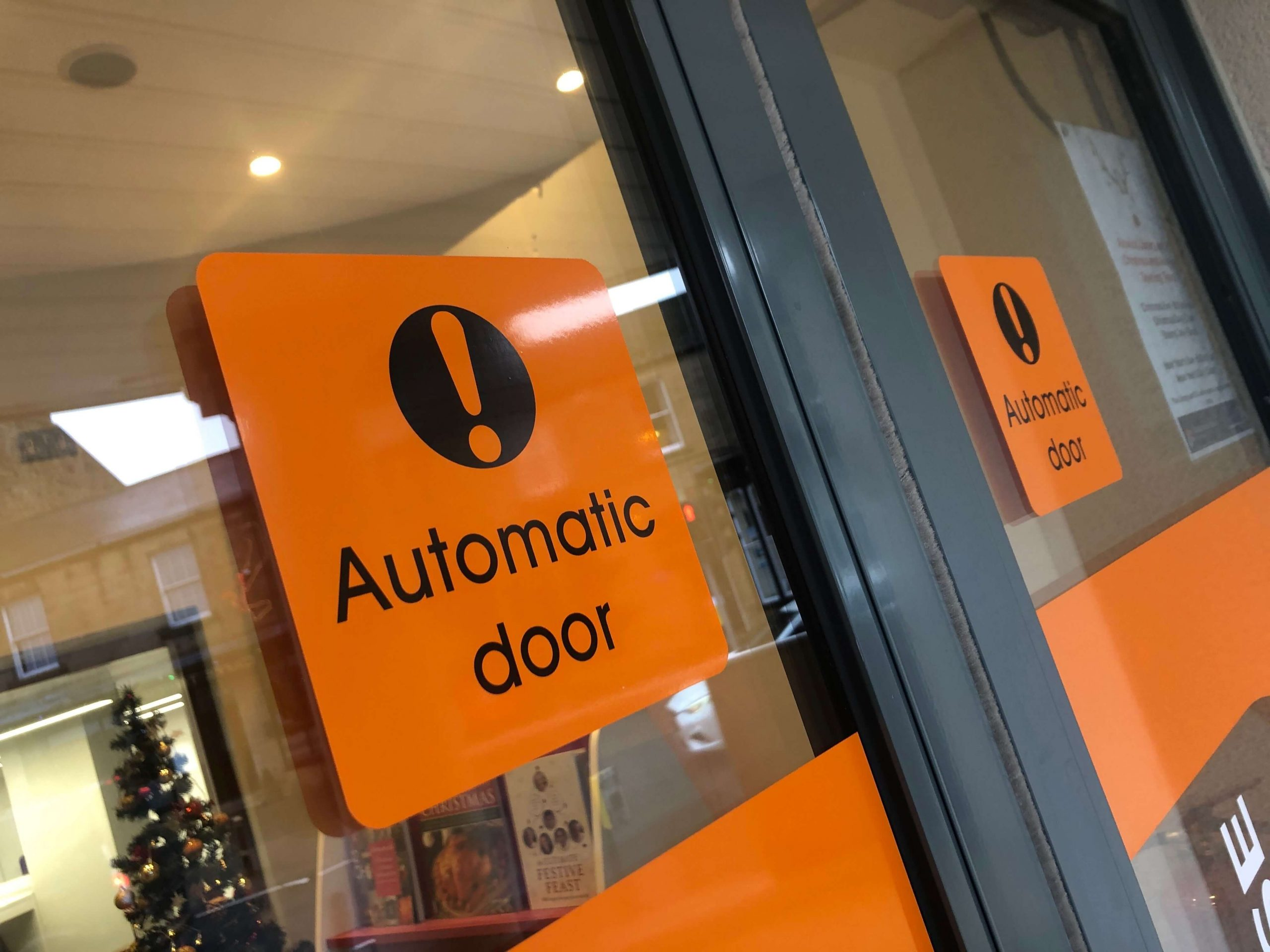 Automatic door signage at Alnwick Playhouse