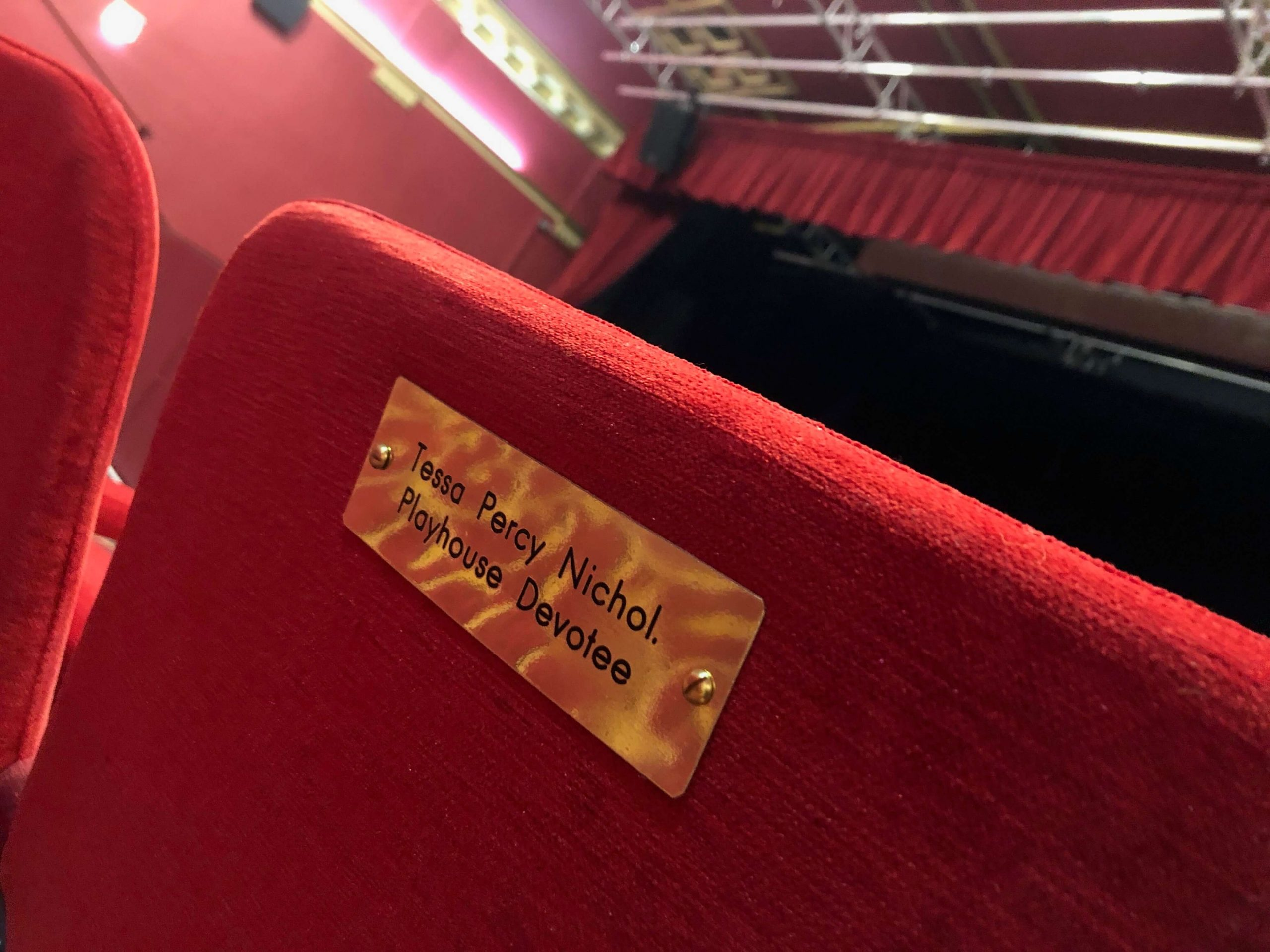 Traditional brass plaque seating signage by Picto