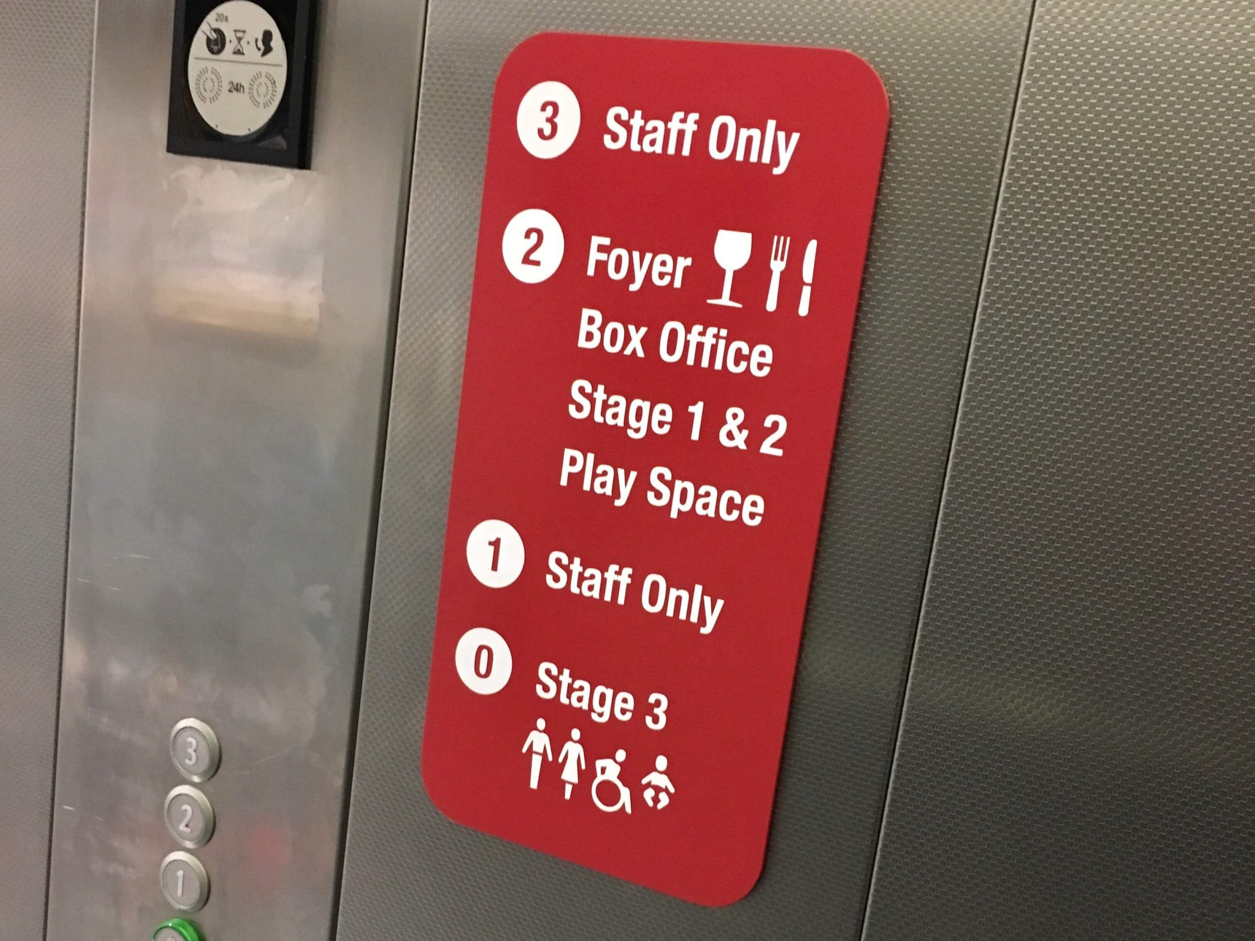 Wayfinding signage in theatre lifts