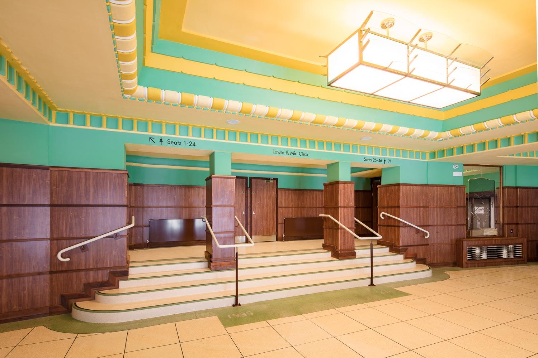 Stockton Globe foyer with feature wayfinding