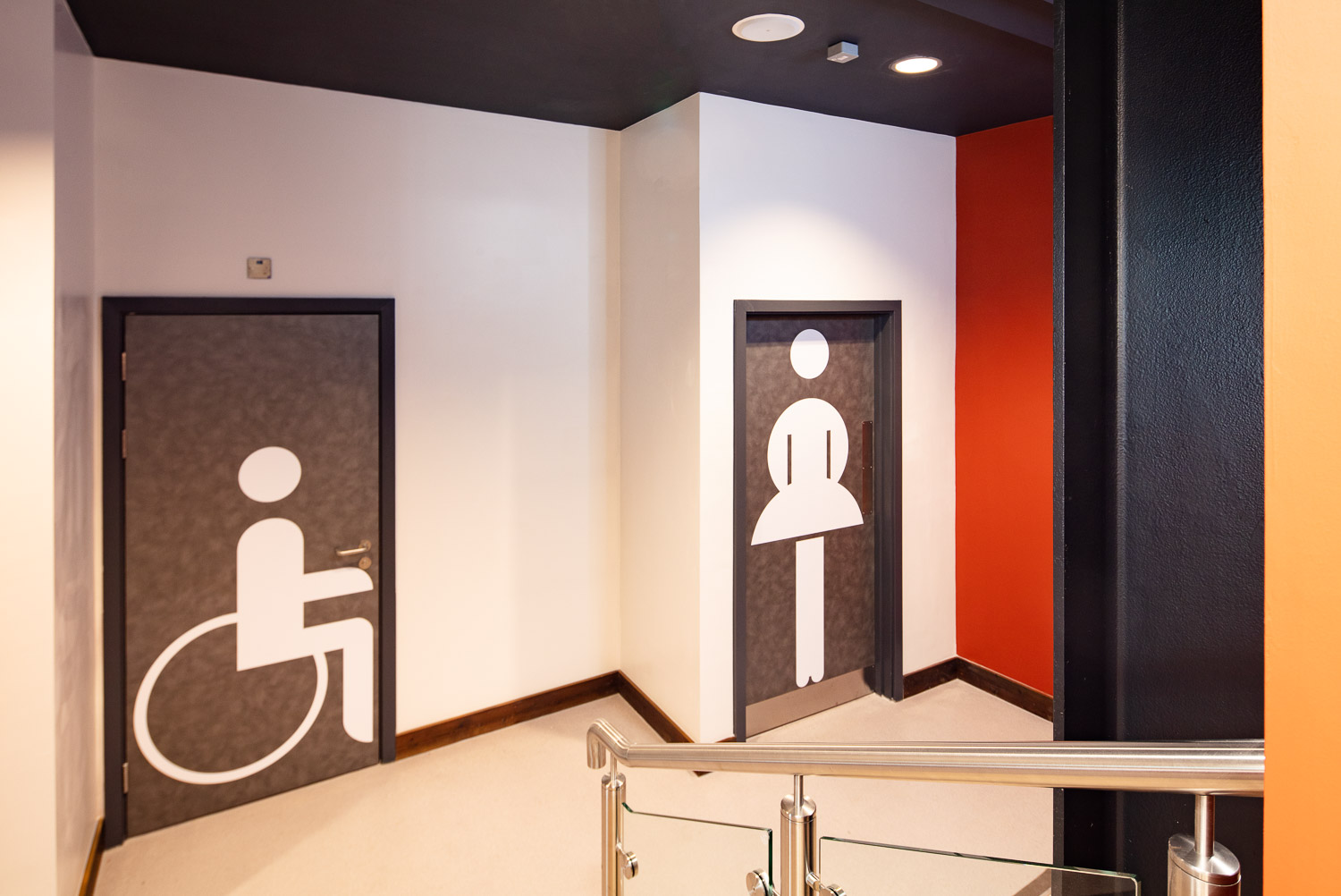 large format toilet signs in The Link