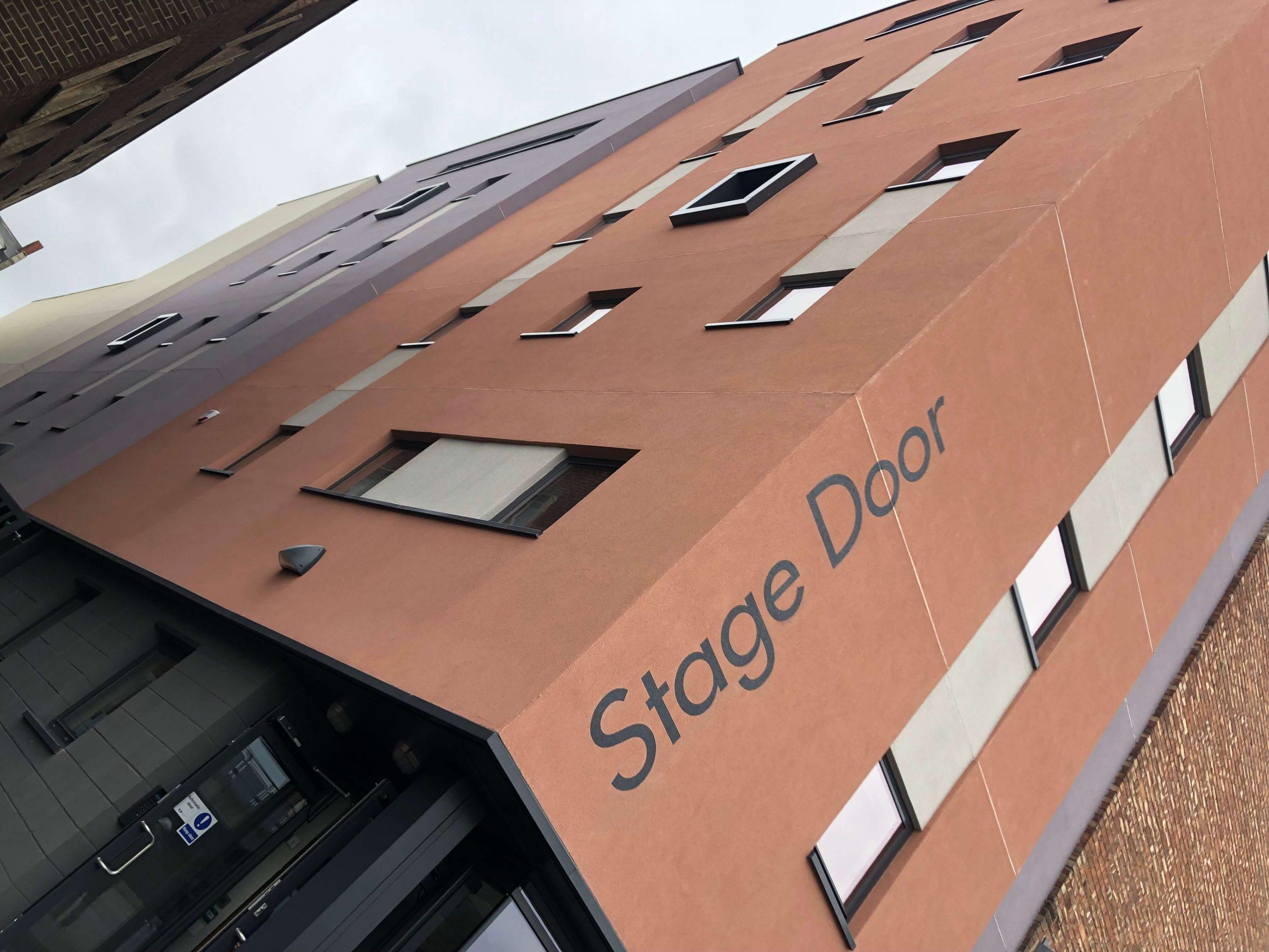 Stockton Globe stage door signage